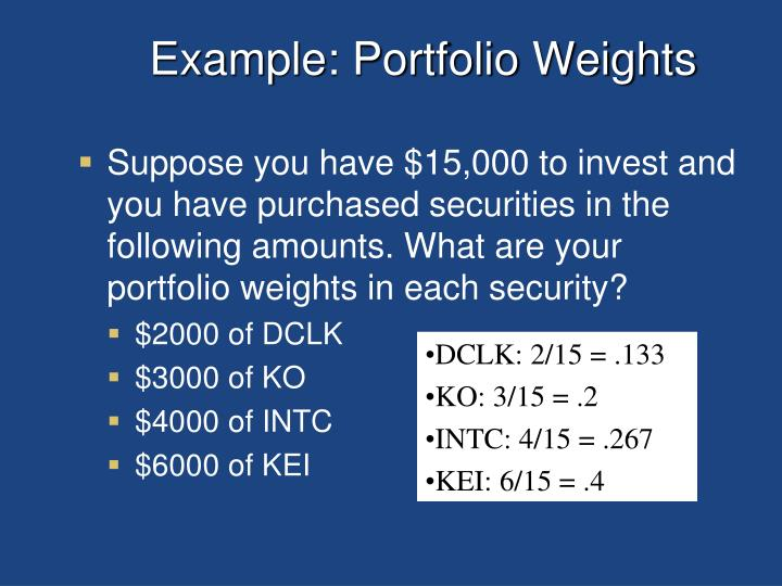 Example: Portfolio Weights