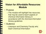 vision for affordable resources module
