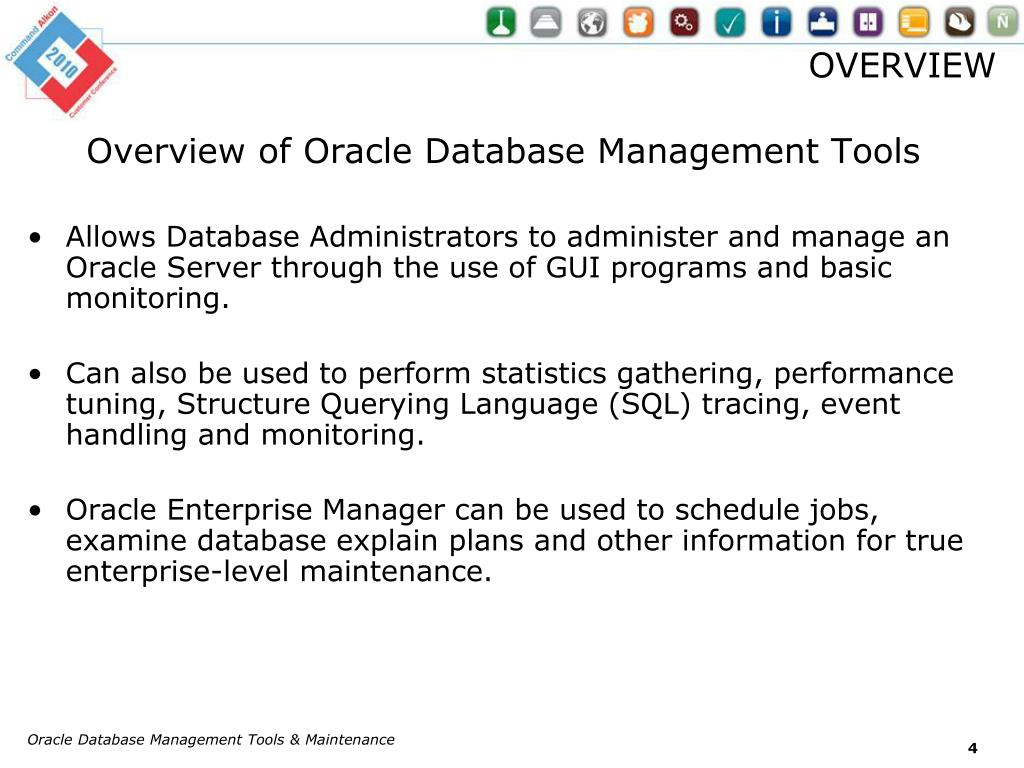 PPT - Oracle Database Management Tools & Maintenance (IT-004