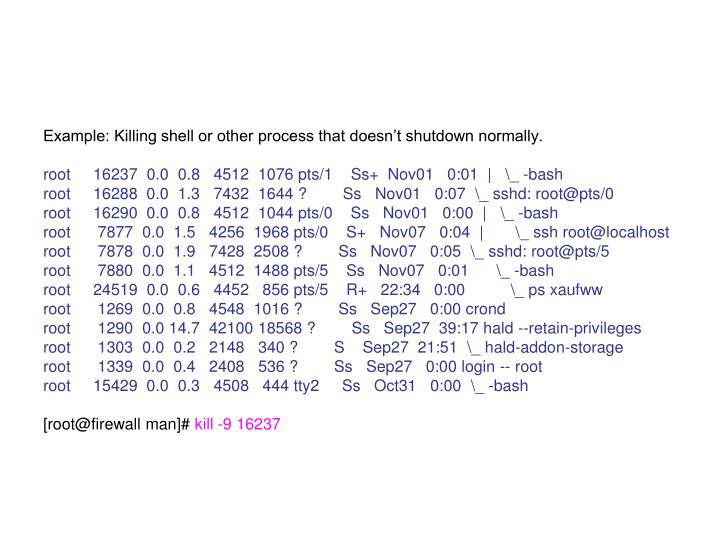 Example: Killing shell or other process that doesn't shutdown normally.