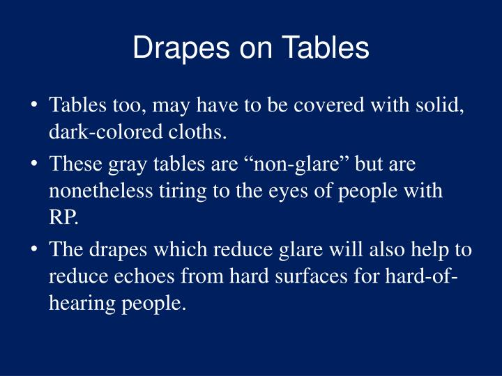 Drapes on Tables
