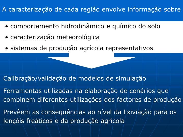 A caracterização de cada região envolve informação sobre