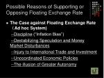 possible reasons of supporting or opposing floating exchange rate1