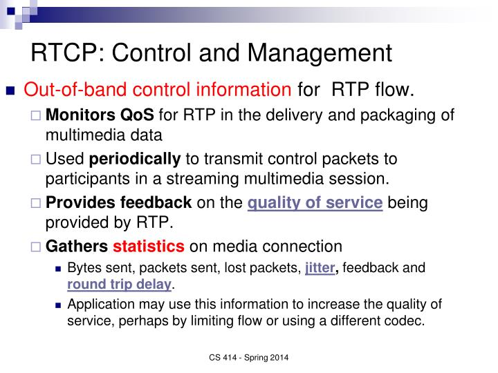 RTCP: Control and Management