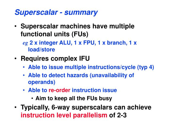 Superscalar - summary