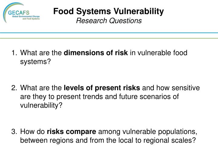 Food Systems Vulnerability