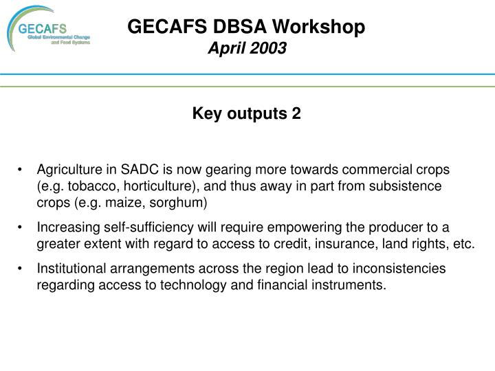 GECAFS DBSA Workshop