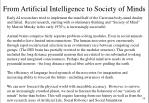 from artificial intelligence to society of minds