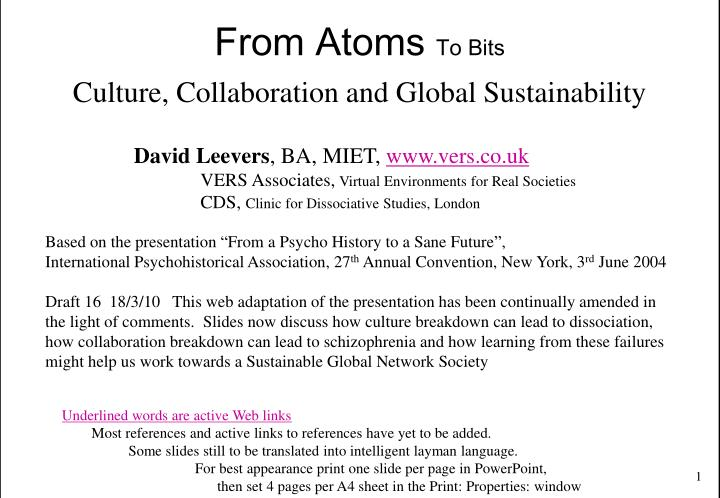 from atoms to bits culture collaboration and global sustainability n.