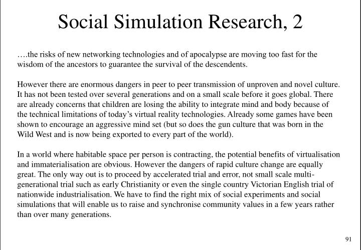 Social Simulation Research, 2