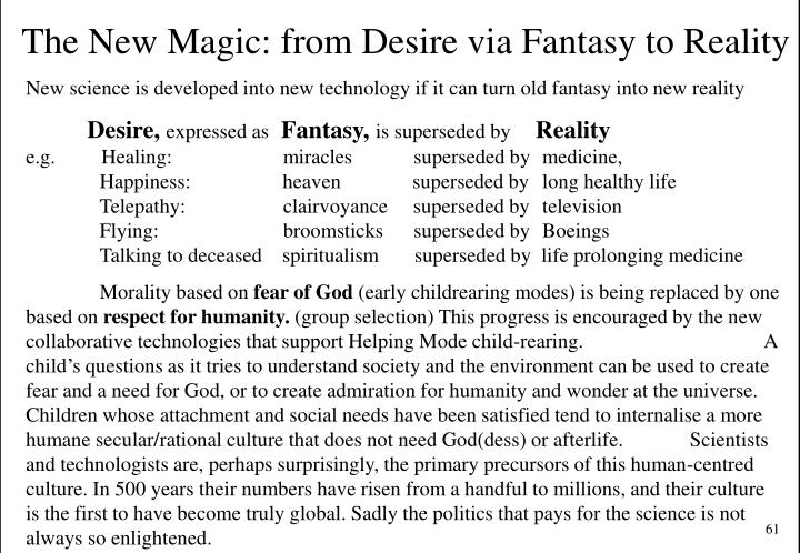 The New Magic: from Desire via Fantasy to Reality