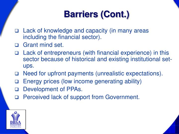 Barriers (Cont.)