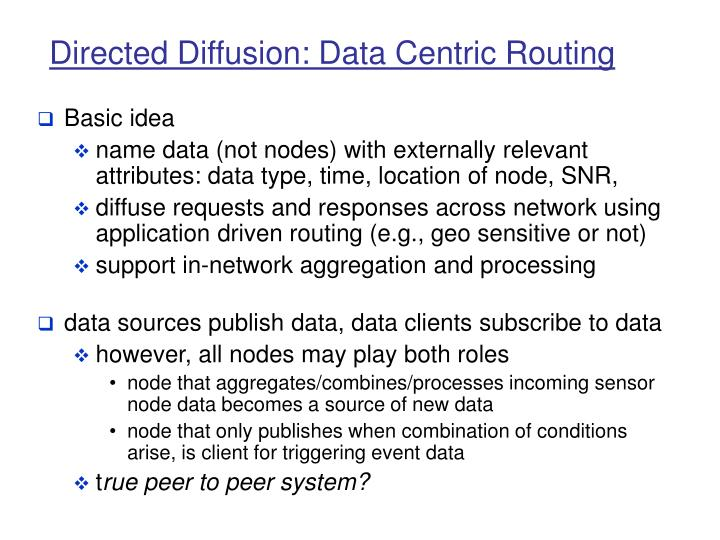 Directed Diffusion: Data Centric Routing