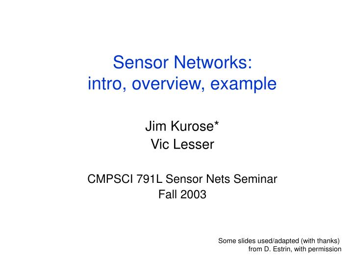 Sensor networks intro overview example