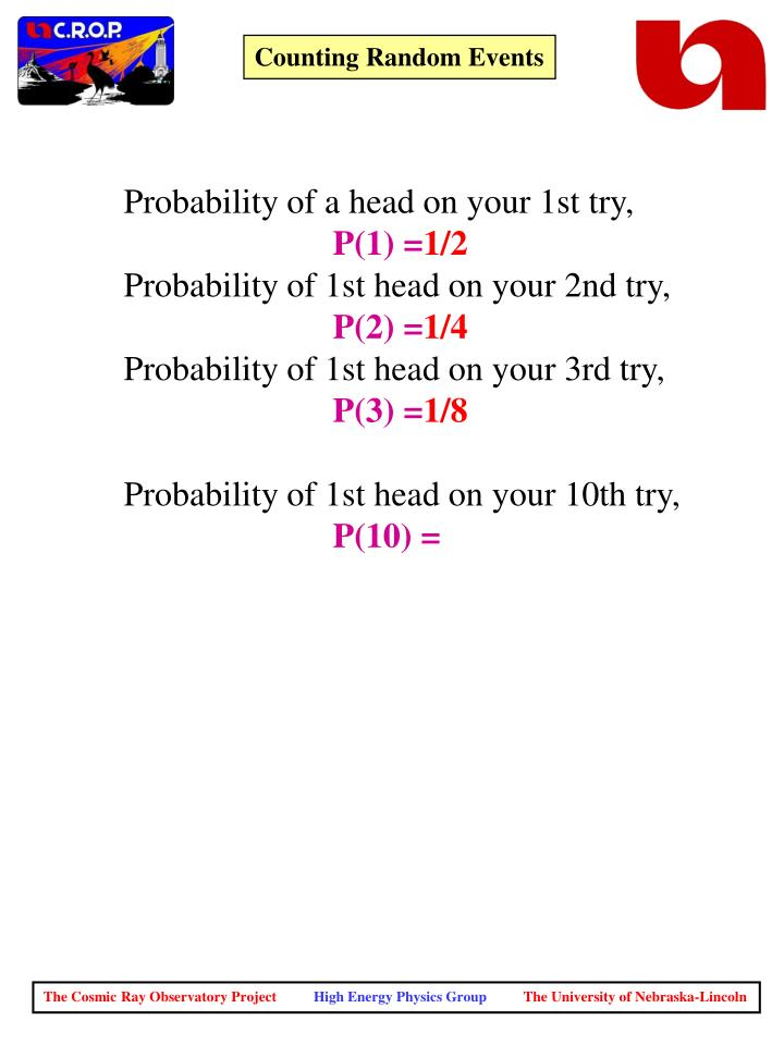 Probability of a head on your 1st try,