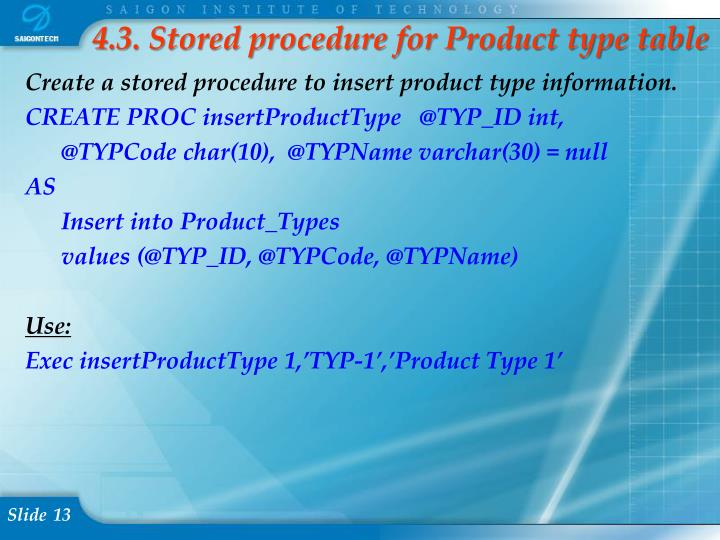 4.3. Stored procedure for Product type table