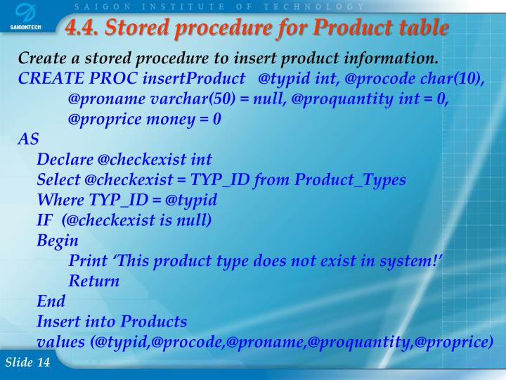 4.4. Stored procedure for Product table