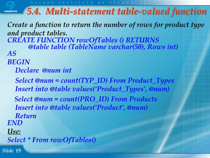 5.4.  Multi-statement table-valued function