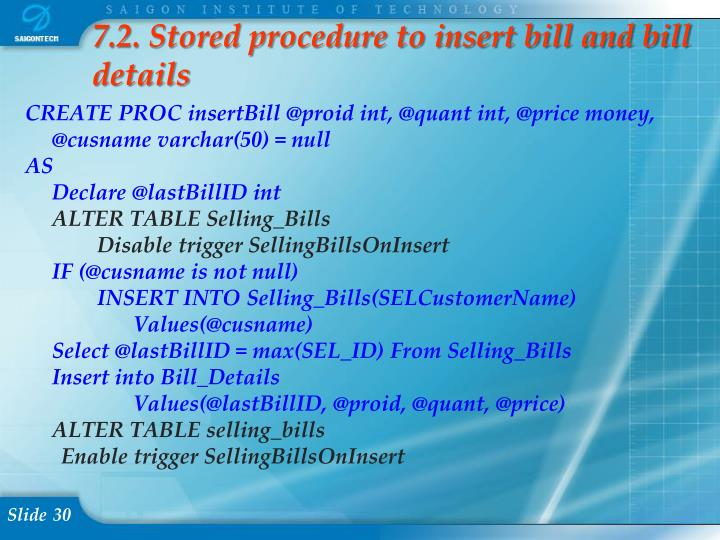 7.2. Stored procedure to insert bill and bill details