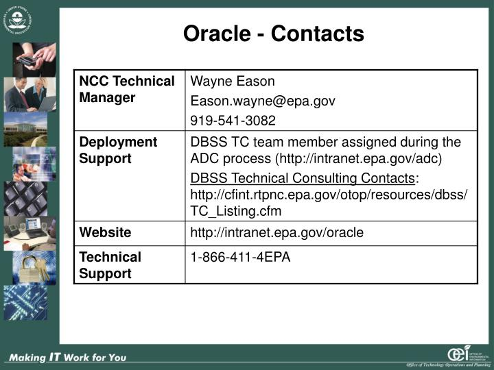 Oracle - Contacts