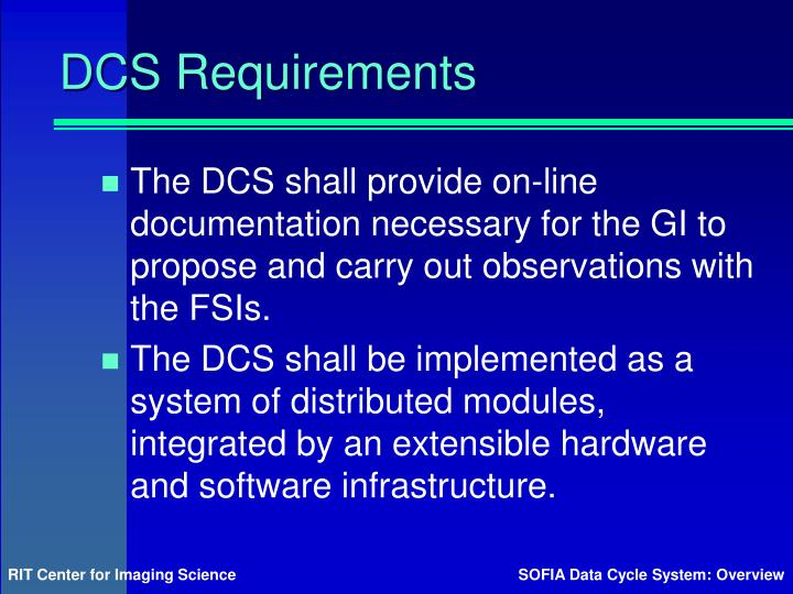 DCS Requirements