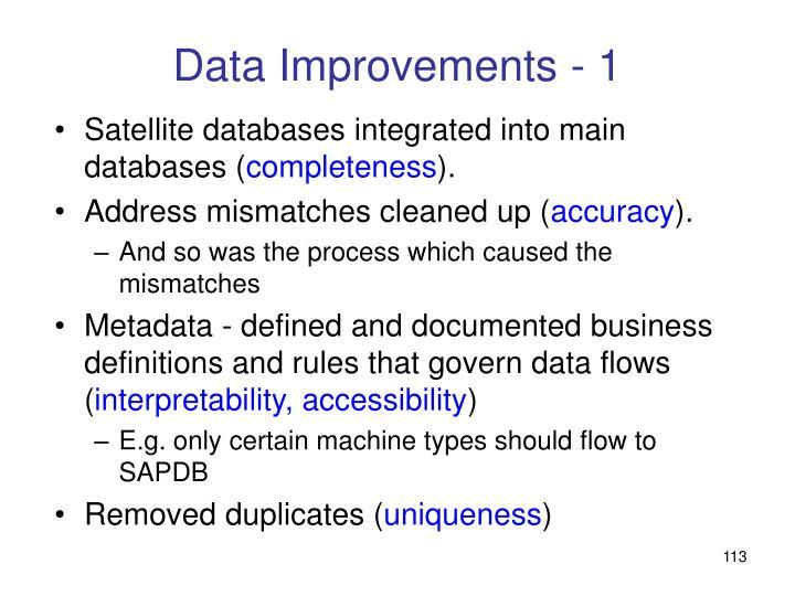 Data Improvements - 1