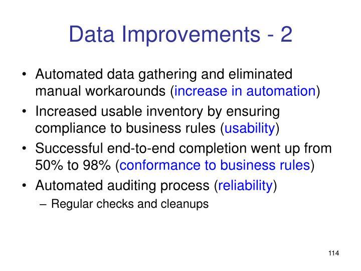 Data Improvements - 2