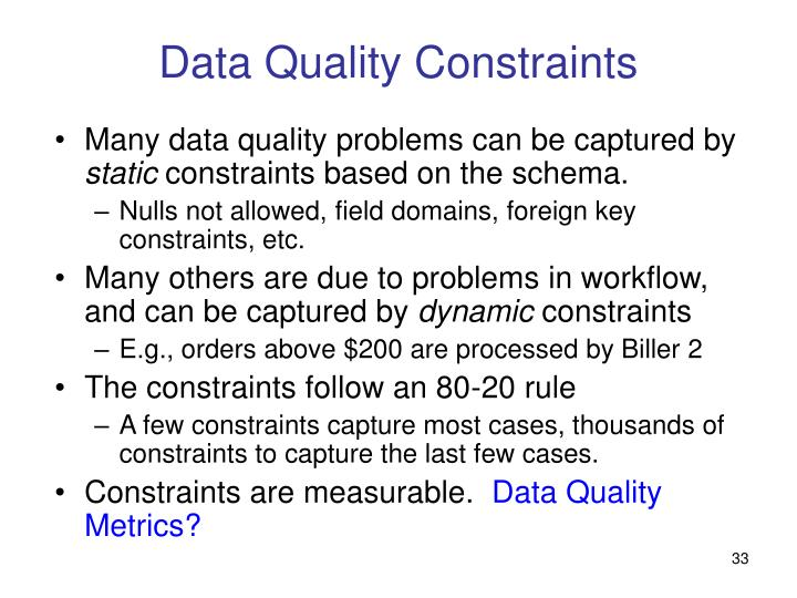 Data Quality Constraints