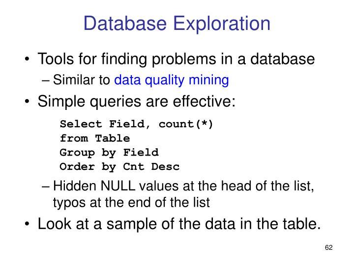 Database Exploration
