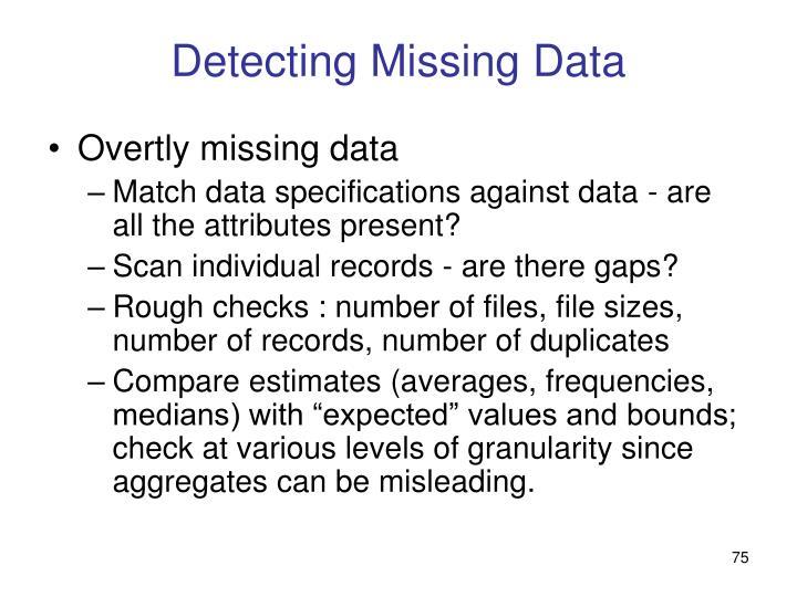 Detecting Missing Data