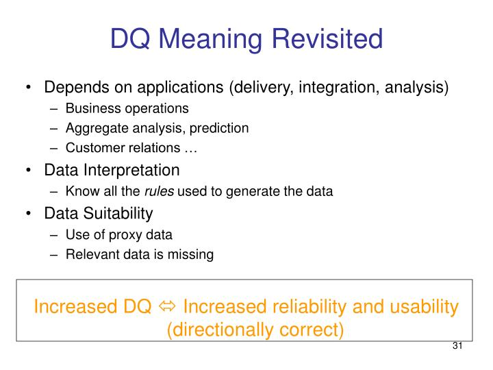 DQ Meaning Revisited