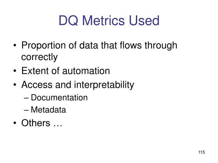 DQ Metrics Used