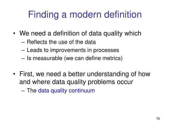 Finding a modern definition
