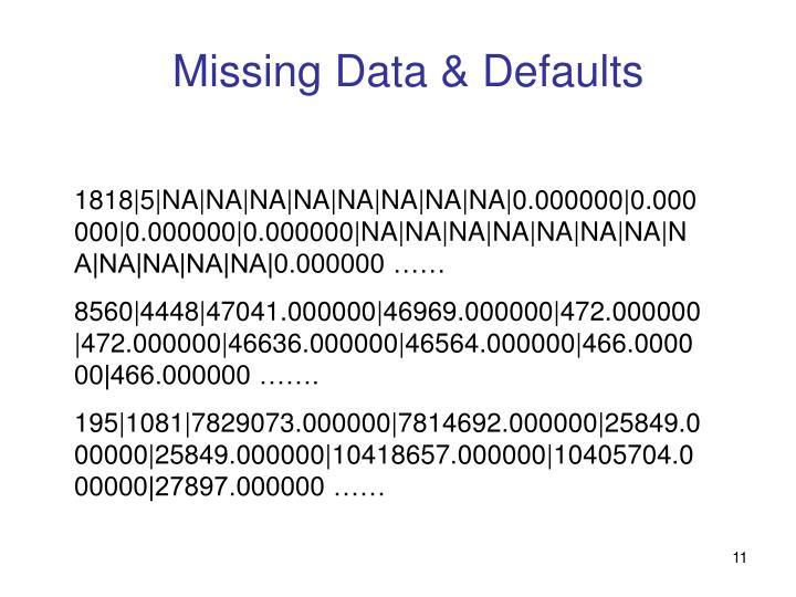 Missing Data & Defaults