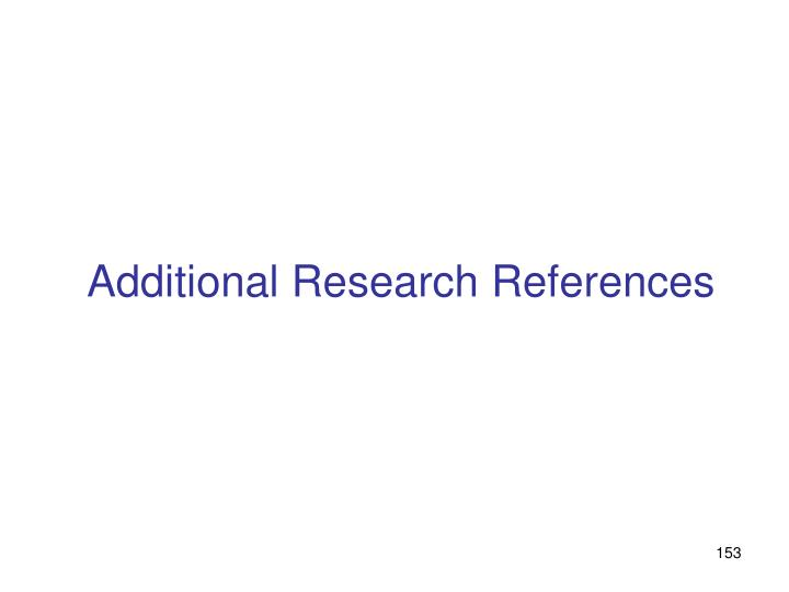 Additional Research References