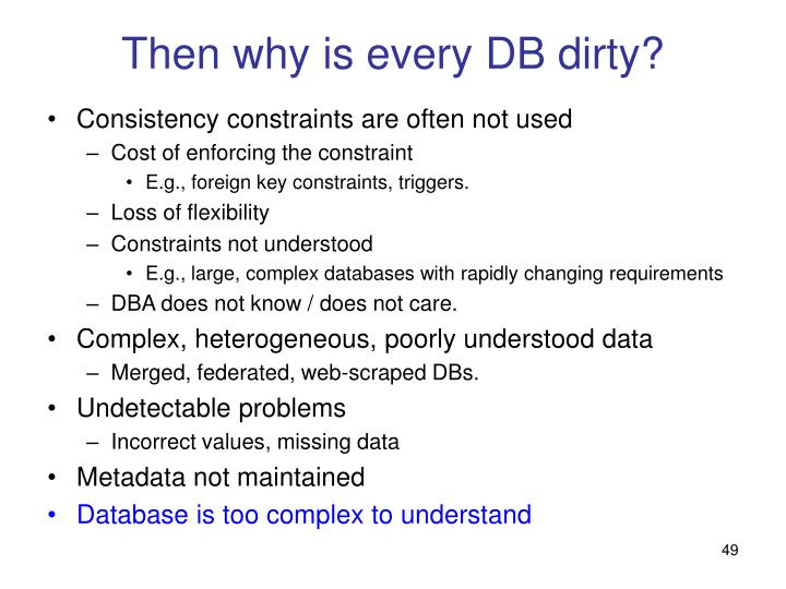 Then why is every DB dirty?