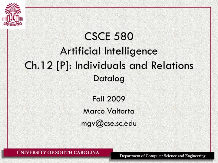 Csce 580 artificial intelligence ch 12 p individuals and relations datalog