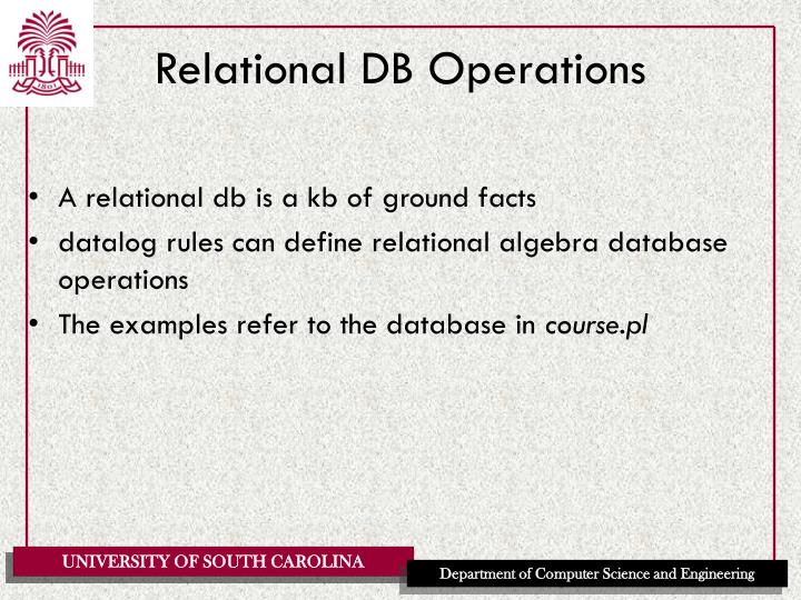 Relational DB Operations