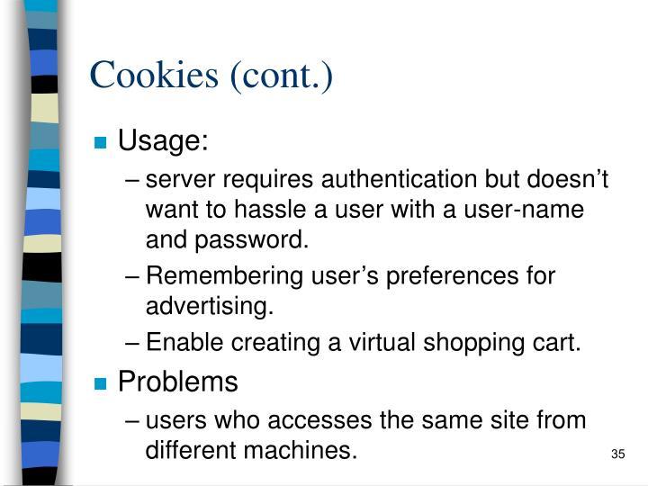 Cookies (cont.)