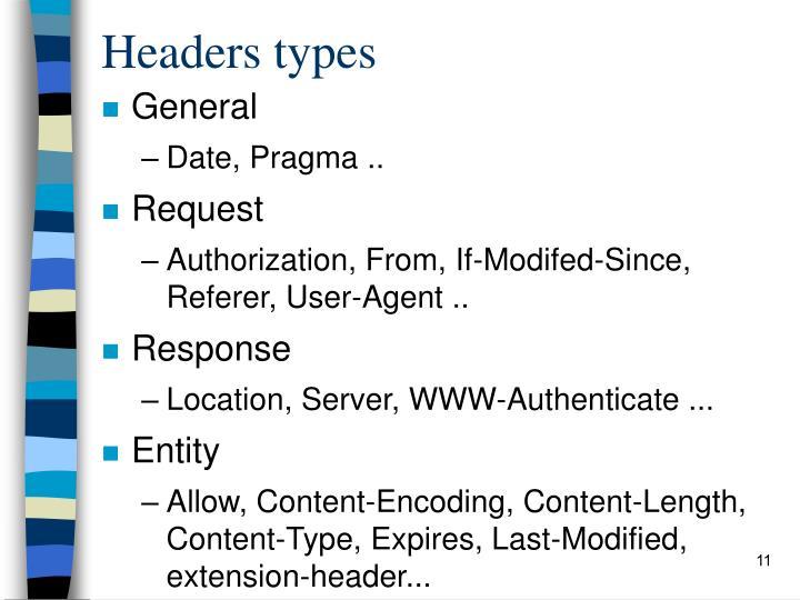 Headers types