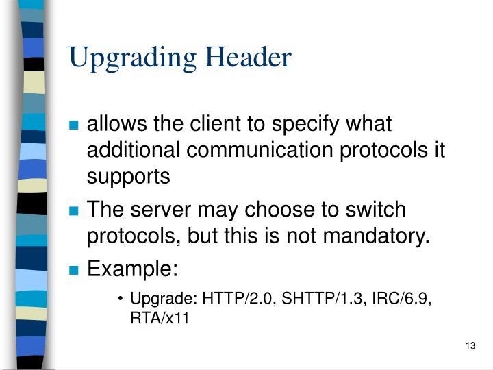 Upgrading Header