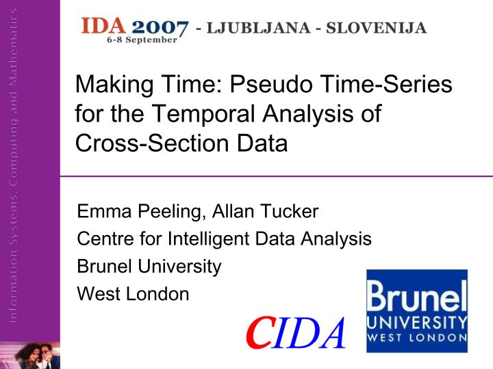 making time pseudo time series for the temporal analysis of cross section data n.