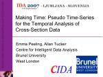 making time pseudo time series for the temporal analysis of cross section data