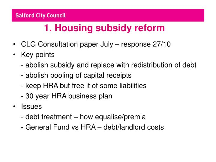 1 housing subsidy reform