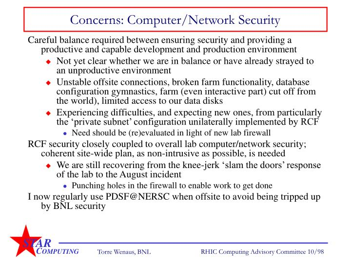 Concerns: Computer/Network Security