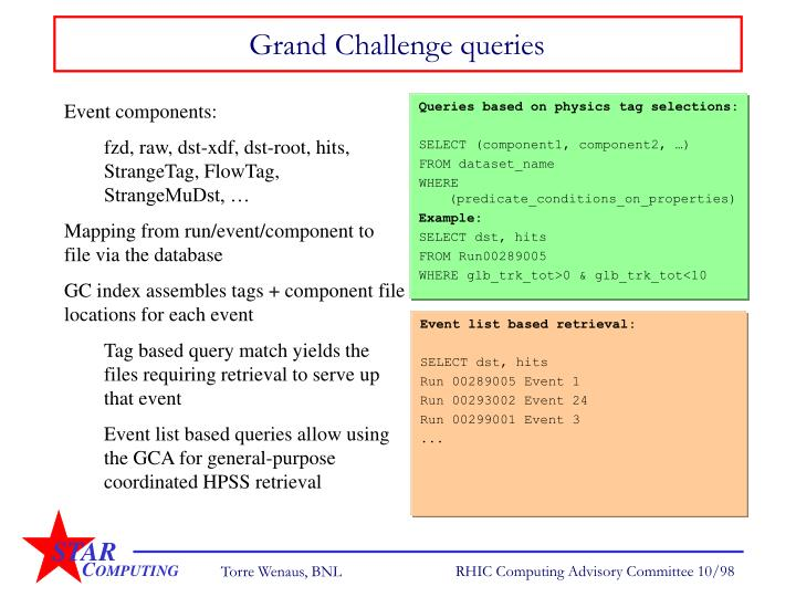 Grand Challenge queries