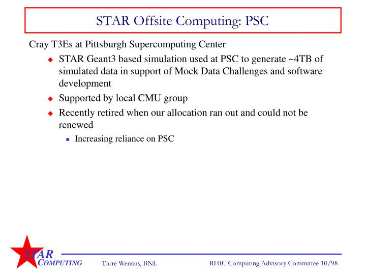 STAR Offsite Computing: PSC