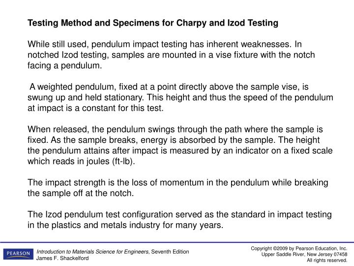Testing Method and Specimens for Charpy and Izod Testing