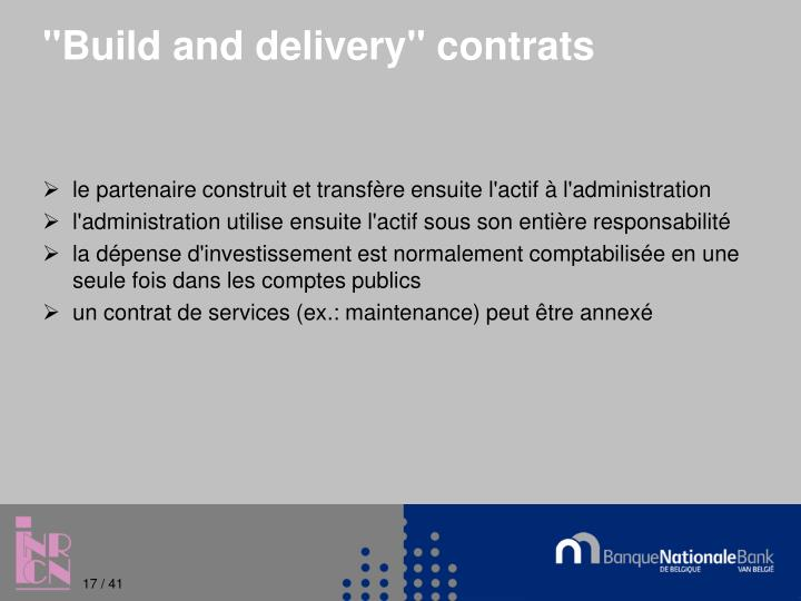 """""""Build and delivery"""" contrats"""