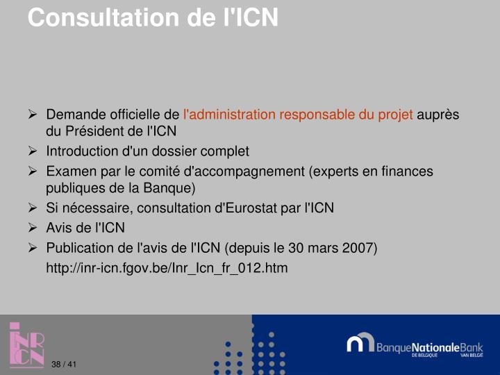 Consultation de l'ICN